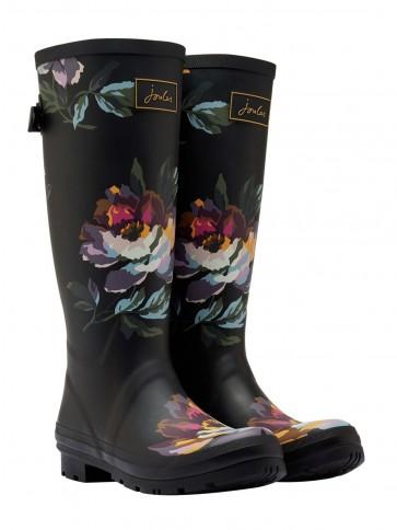 Joules Black Floral Printed Wellies