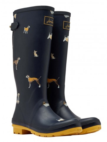 Joules Printed Wellies Navy Harbour Dogs