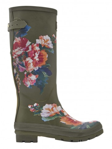 Joules Green Lakeside Rose Printed Welly