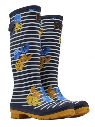 Joules Navy Lily Stripe Printed Wellies