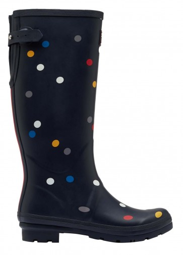 Joules Printed Welly Navy Multi Spot