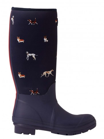 Joules Neoprene Printed Welly Navy Dogs
