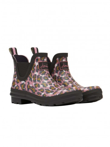 Joules Wellibob Printed Wellies Pink Leopard