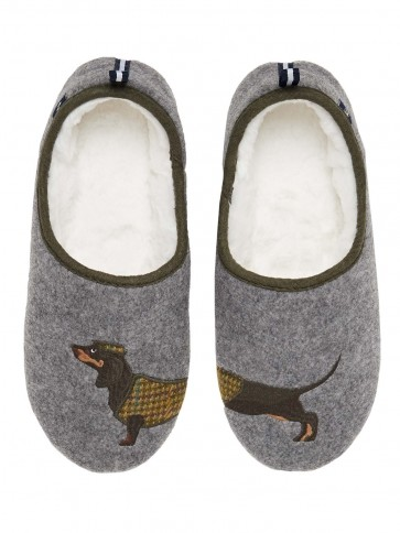 Joules Slip on Felt Slippers Grey Dachshund