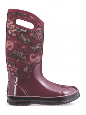 Bogs Classic Paisley Floral Tall Burgundy Multi