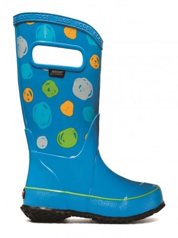 Bogs Kids Rain Boot Sketched Dots Sky Blue Multi