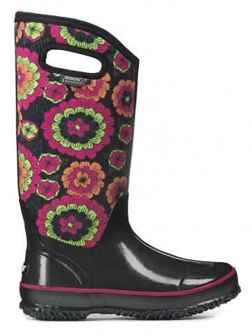 Bogs Classic Pansies Black Multi Rainboot
