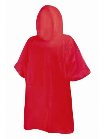 Adult Re-Usable Rain Poncho Red
