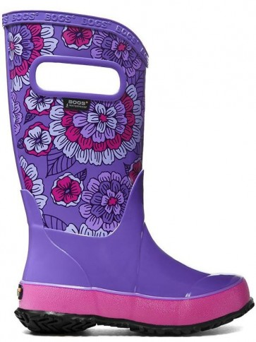 Bogs Kids Rain Boot Pansies Violet Multi