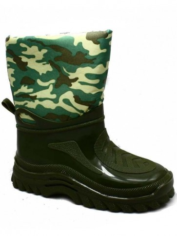 Boys Green Army Camo Boot
