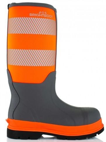 Brightboot Waterproof High Leg Safety Boot Orange/Grey