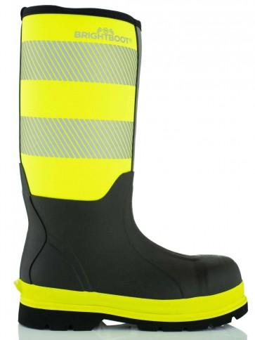 Brightboot Waterproof High Leg Safety Boot Yellow/Black