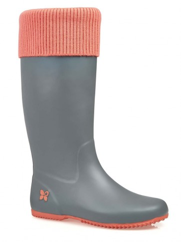 Butterfly Twists Windsor Folding Welly Grey/Pink *SECONDS*