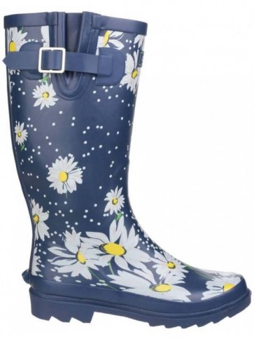 Blue Daisy Print Welly