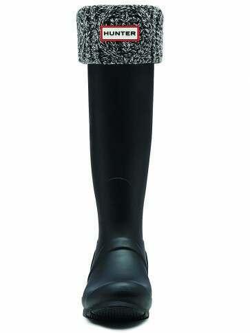 Hunter Cable Cuff Tall Boots Socks Black/Grey