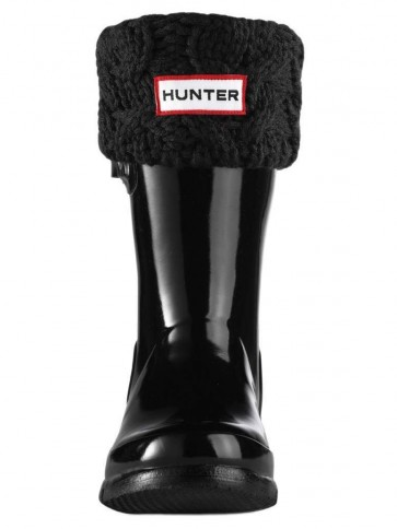 Hunter Kids Chunky Cable Cuff Socks Black