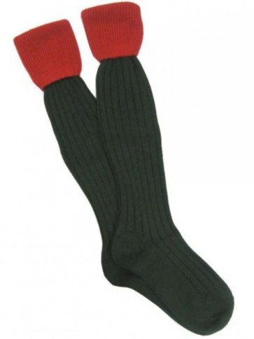 Hunter Balmoral Turnover Sock Green/Red