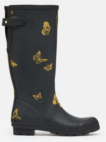 Joules Printed Welly Black Butterfly