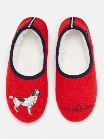Joules Slip on Felt Slippers Red Walkies