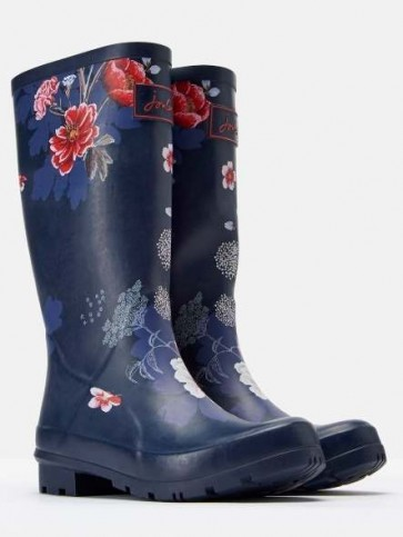Joules Roll Up Welly Navy Floral