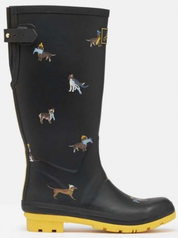 Joules Printed Welly Black Dogs
