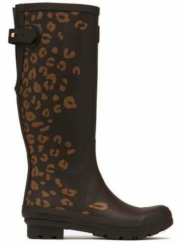 Joules Printed Wellies Brown Leopard