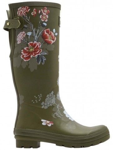 Joules Green Floral Printed Wellies