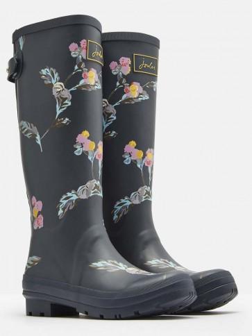 Joules Grey Swanton Floral Printed Wellies