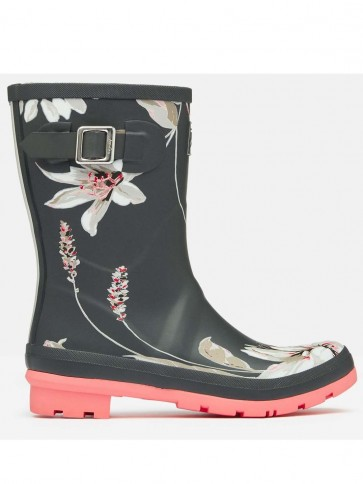 Joules Molly Welly Dark Grey Floral