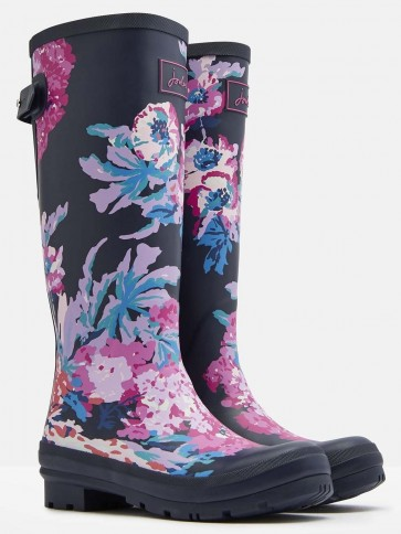 Joules Navy All Over Floral Printed Wellies