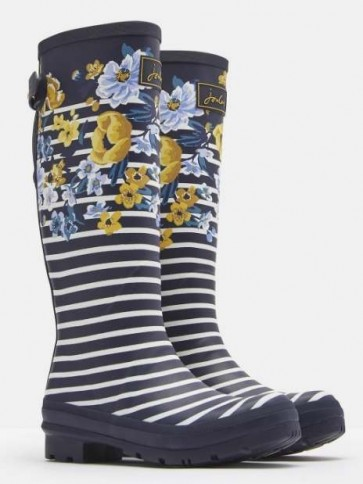 Joules Navy Botanical Printed Wellies