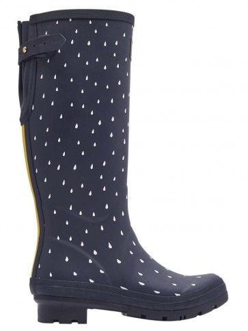 Joules Navy Raindrop Printed Wellies