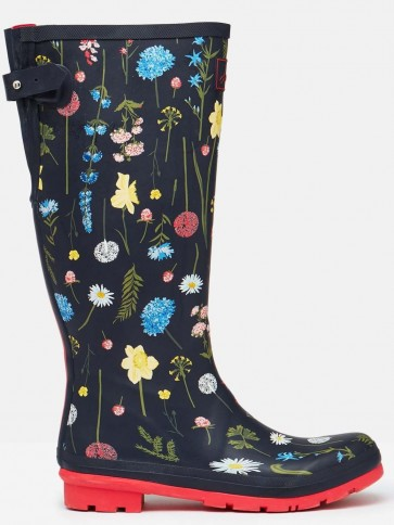 Joules Printed Welly Navy Spring Flowers