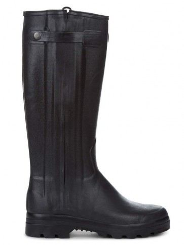 Le Chameau Chasseur Leather Lined with Zip Black