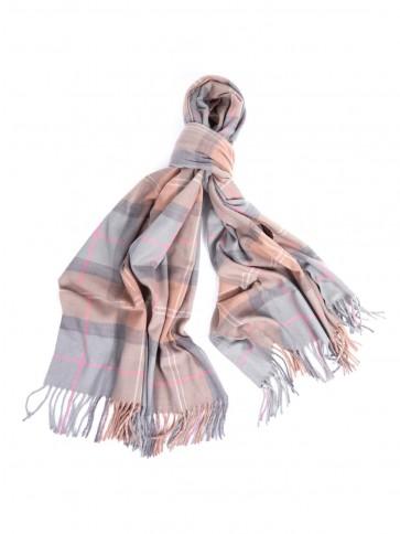 Barbour Hailes Tartan Wrap Taupe/Pink