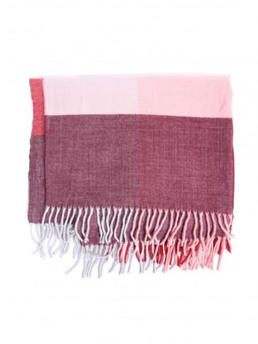 Barbour Pastel Check Scarf Red Mix