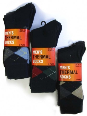 3 Pack Men's Thermal Argyle Sock