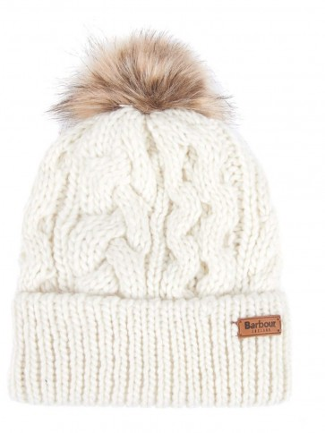 Barbour Penshaw Cable Knit Beanie Cloud