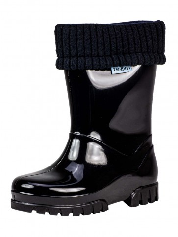 Term Childrens Rolltop Welly Black