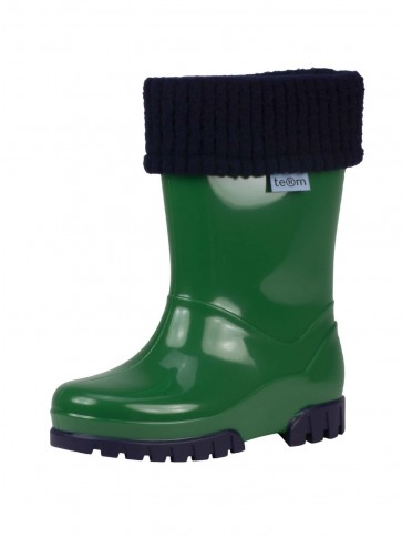 Term Childrens Rolltop Welly Green/Navy