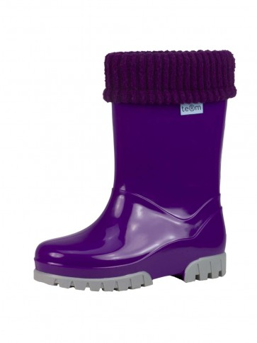 Term Childrens Rolltop Welly Purple/Grey