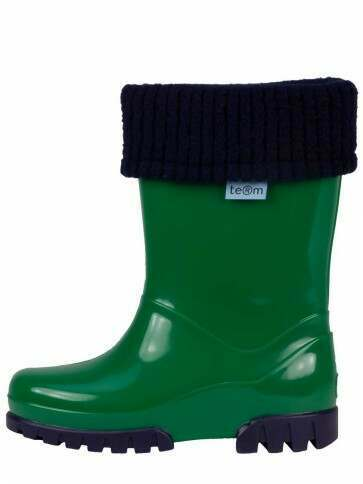 Term Childrens Rolltop Welly Green