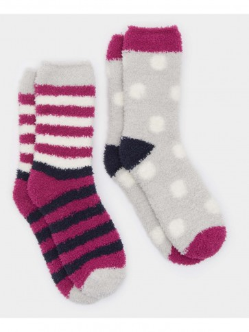 Joules Short Fluffy Socks 2 Pack Ruby (Size 4-8)