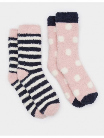 Joules Short Fluffy Sock 2 Pack Soft Pink (Size 4-8)