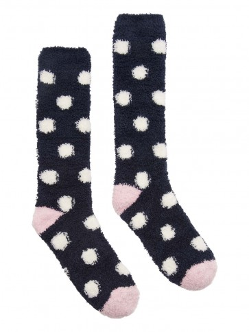 Joules Supersoft Fluffy Socks Navy Spot 4-8