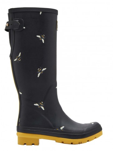 Joules Botanical Bees Adjustable Wellingtons Black