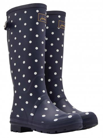 Joules Navy Spot Printed Welly