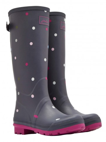 Joules Printed Wellies Grey Multi Spot
