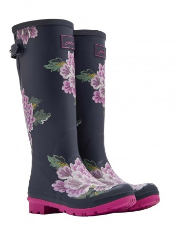 Joules Chinoise Adjustable Back Wellingtons Navy