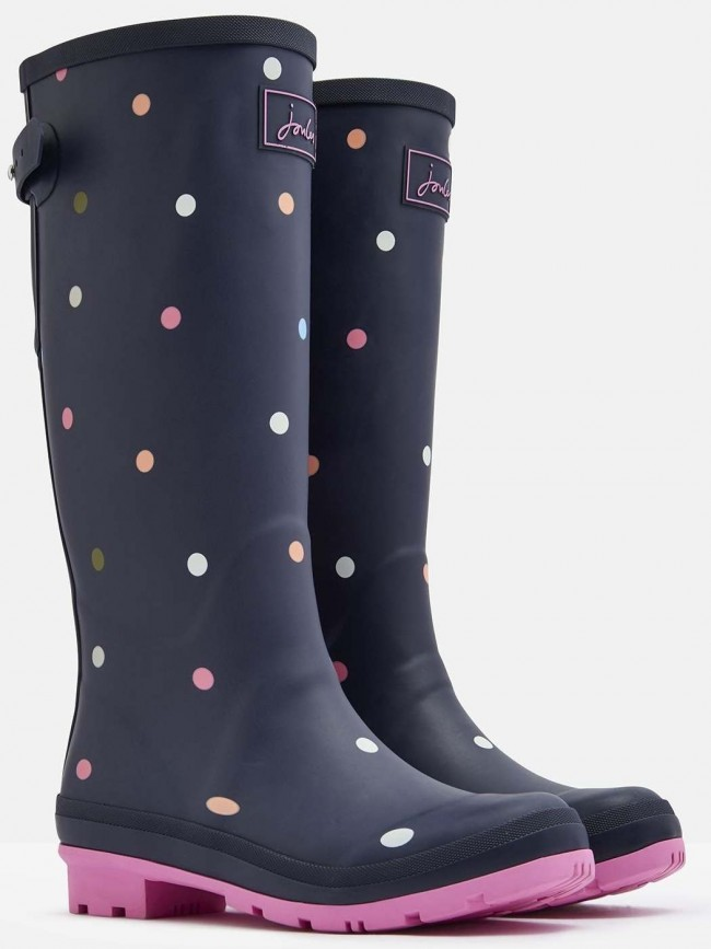 Joules Navy Ping Pong Spot Printed Wellies